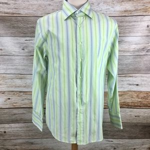 Roar Shirts - Roar Button Shirt Lime Green Light Blue Stripe